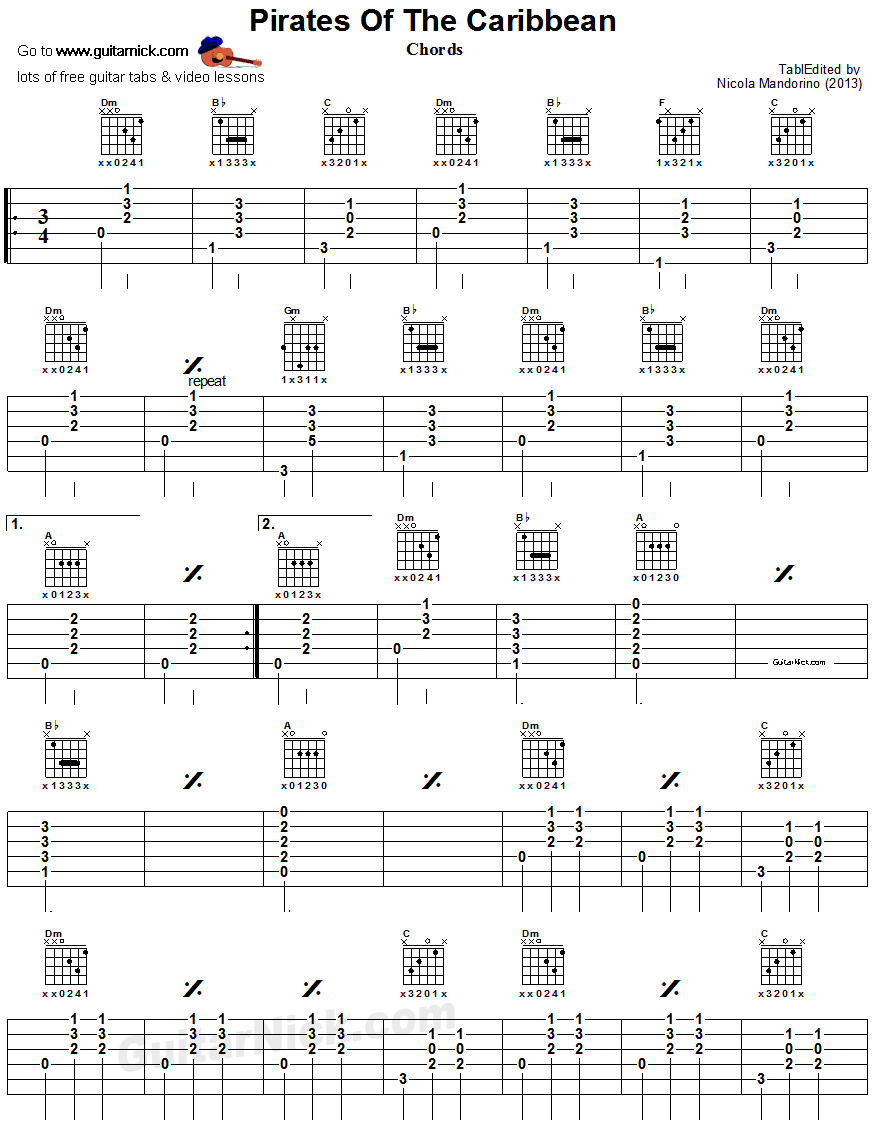 Pirates Of The Caribbean - guitar chords chart 1