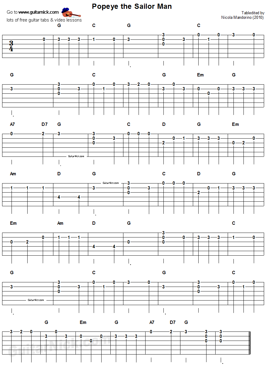 POPEYE THE SAILOR MAN Easy Guitar TAB: GuitarNick.com