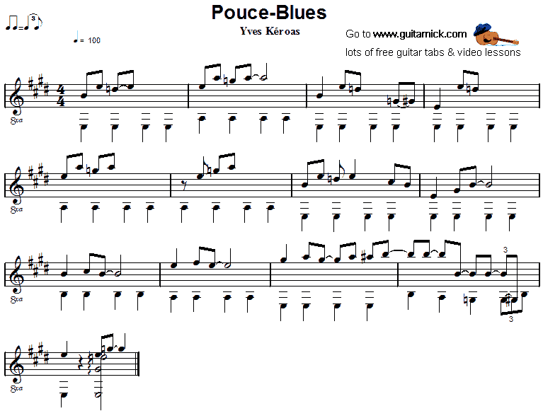 Pouce-Blues - fingerstyle guitar sheet music
