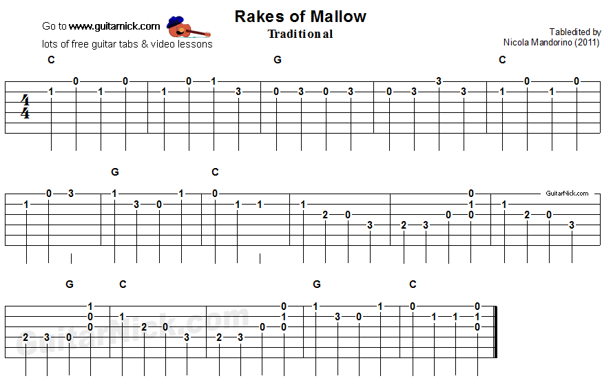 Rakes Of Mallow - easy guitar tablature