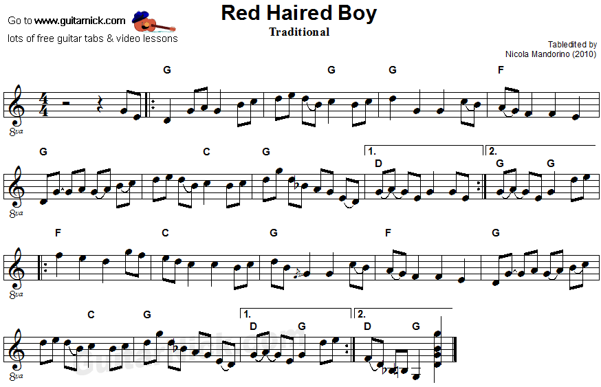 Red Haired Boy - flatpicking guitar sheet