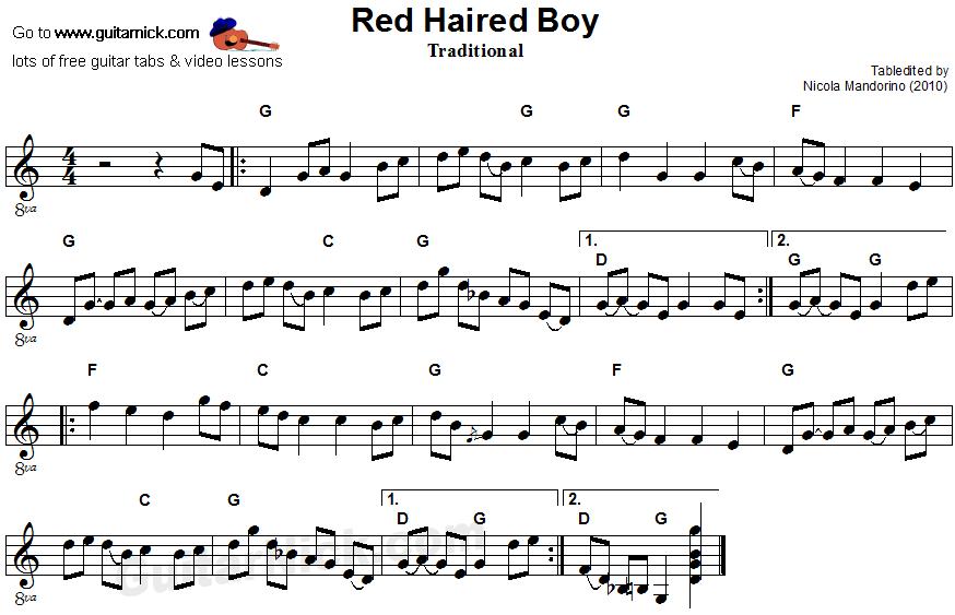 Red Haired Boy: sheet music + guitar TAB - GuitarNick.com