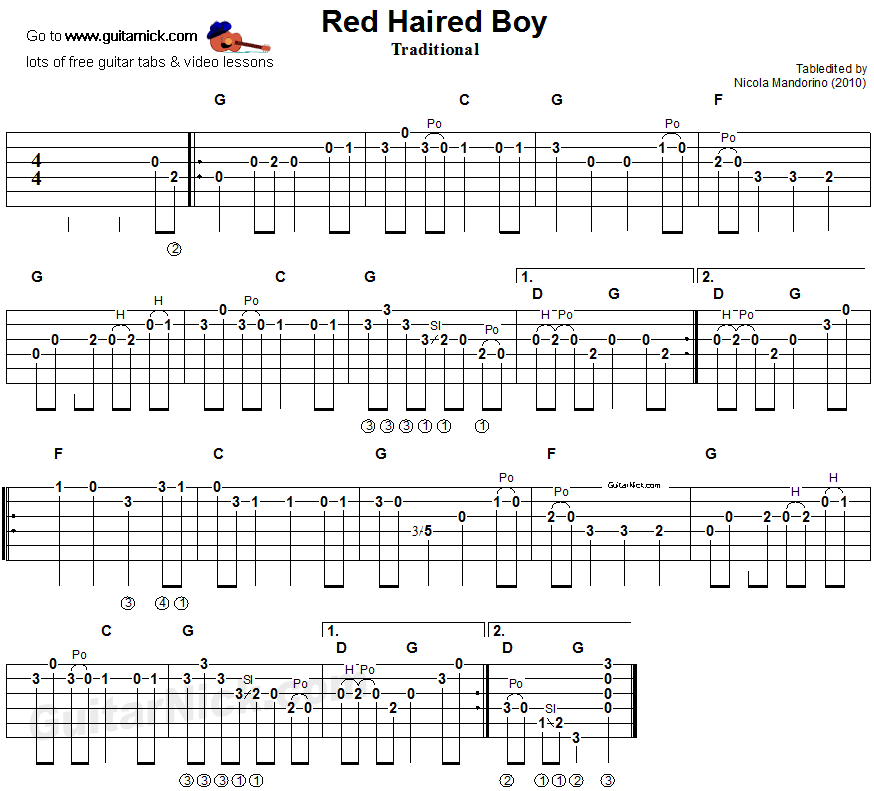 Red Haired Boy Sheet Music  Guitar Tab - Guitarnickcom-3661