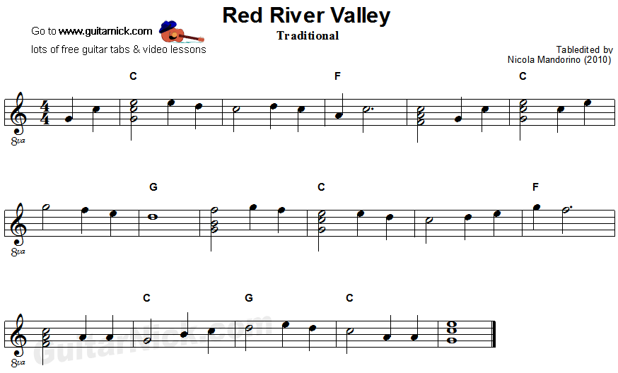 Red River Valley - easy guitar sheet music