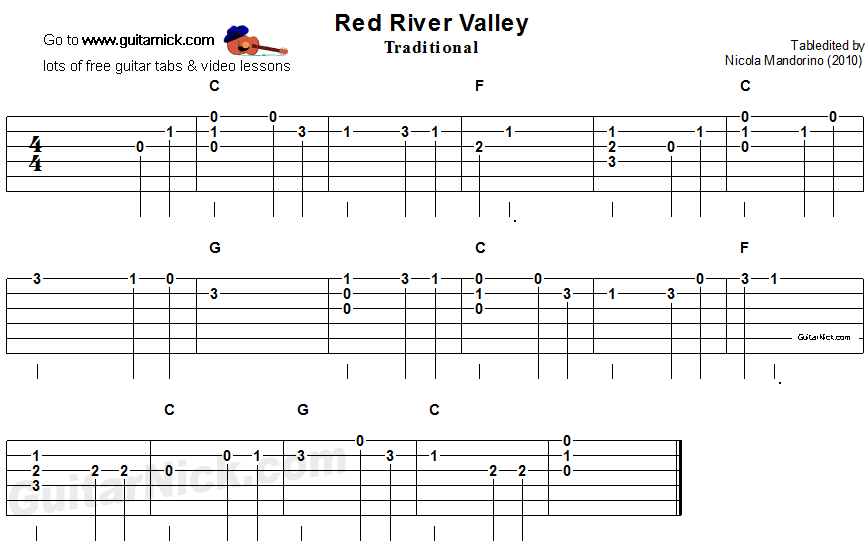 Red River Valley - easy guitar tablature