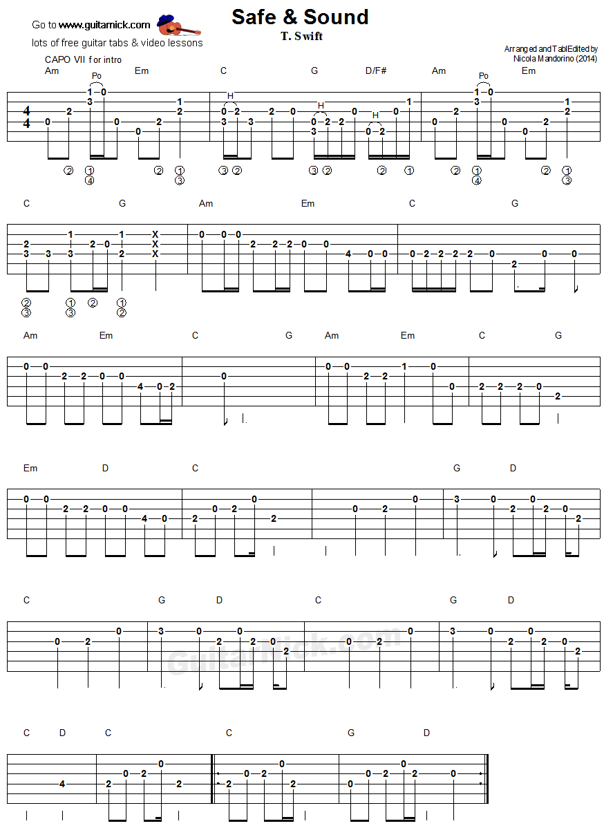 Safe & Sound - easy guitar tablature