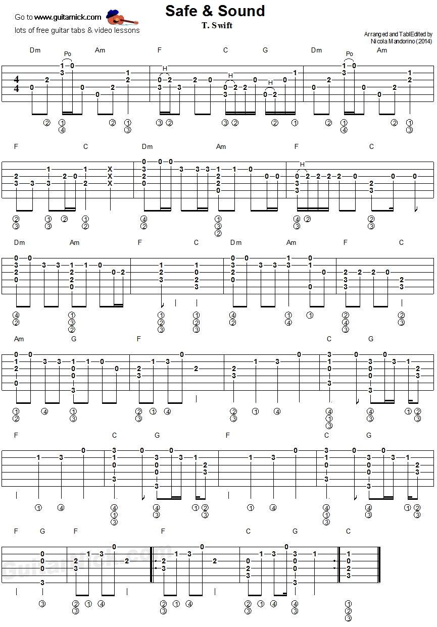 SAFE & SOUND Fingerstyle Guitar Tab: GuitarNick.com