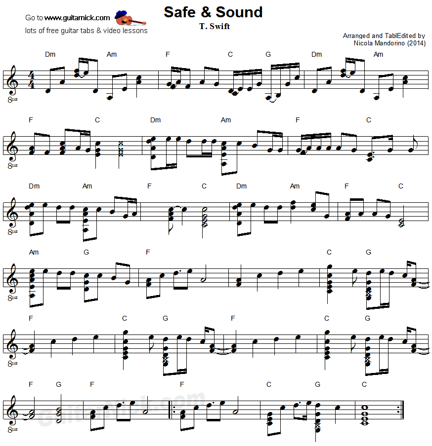 Safe & Sound - flatpicking guitar sheet music
