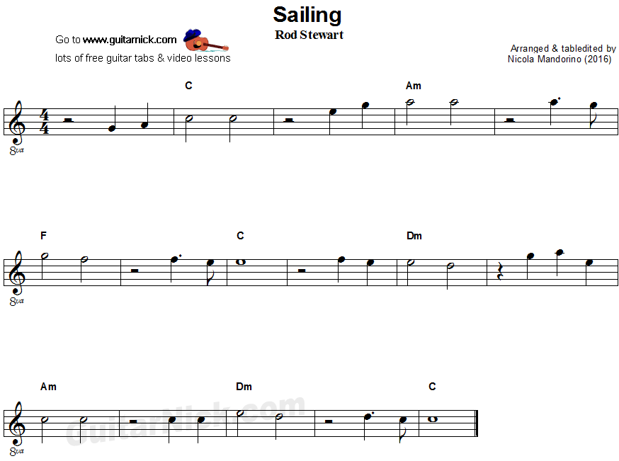 Sailing - easy guitar sheet music