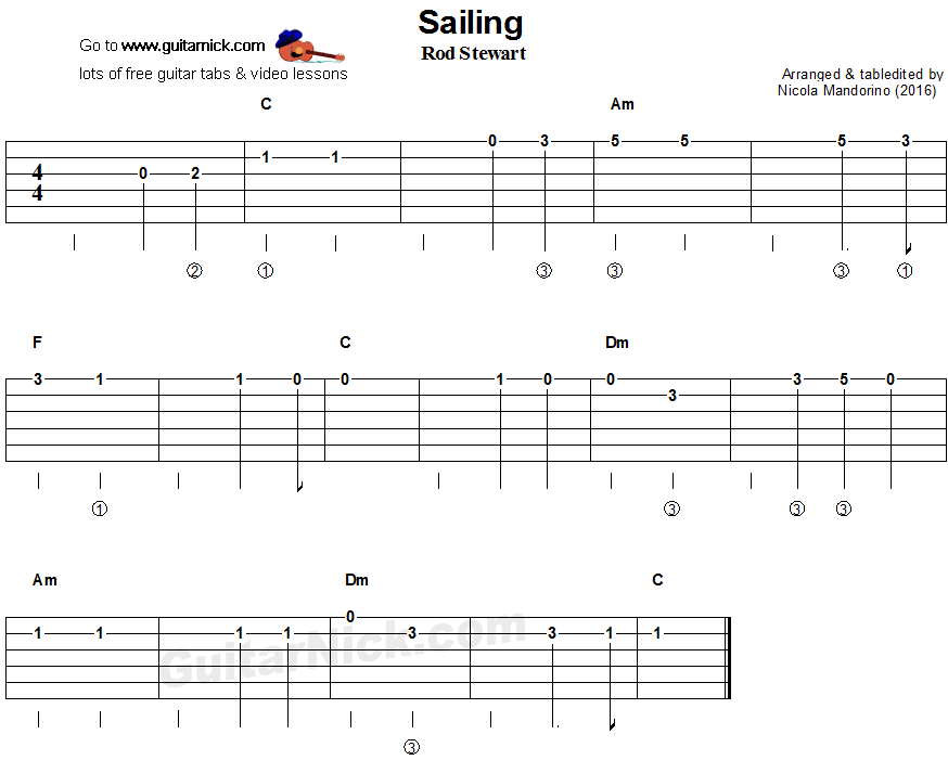 Sailing - easy guitar tablature