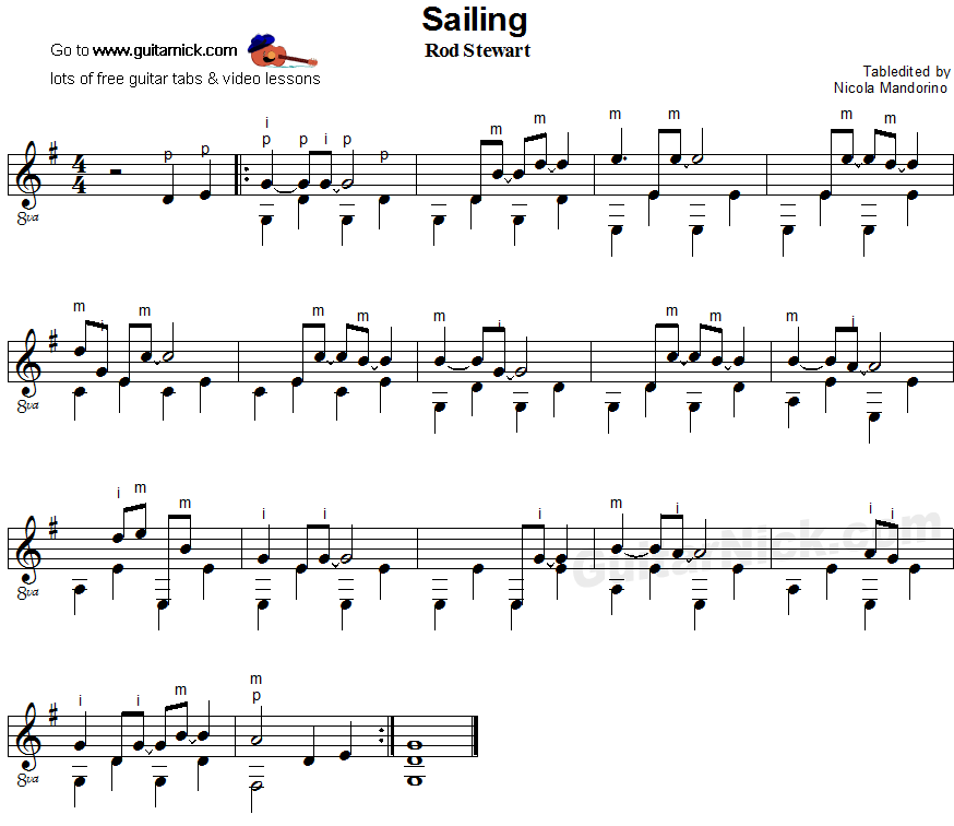 Sailing - fingerpicking guitar sheet music