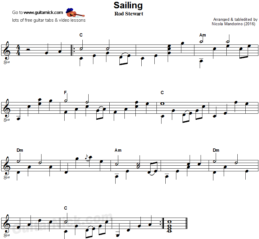 Sailing - fingerstyle guitar sheet music