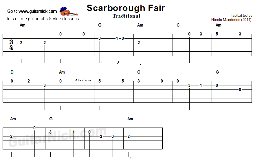 SCARBOROUGH FAIR Easy Guitar Tab: GuitarNick.com