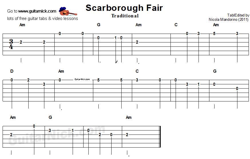 scarborough fair easy guitar tab. Black Bedroom Furniture Sets. Home Design Ideas