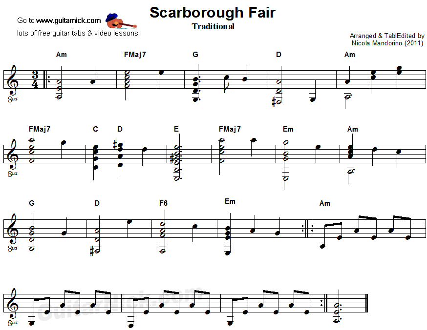 Lyric scarborough fair lyrics and sheet music : SCARBOROUGH FAIR Fingerstyle Guitar Lesson: GuitarNick.com