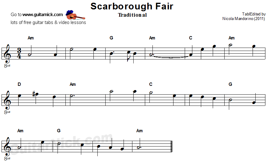 Pics Photos - Scarborough Fair Music For Guitar
