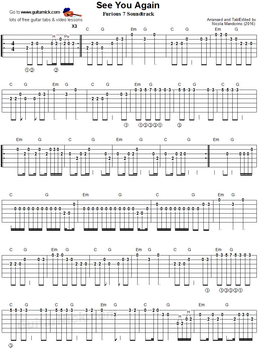 SEE YOU AGAIN Easy Guitar Tab: GuitarNick.com