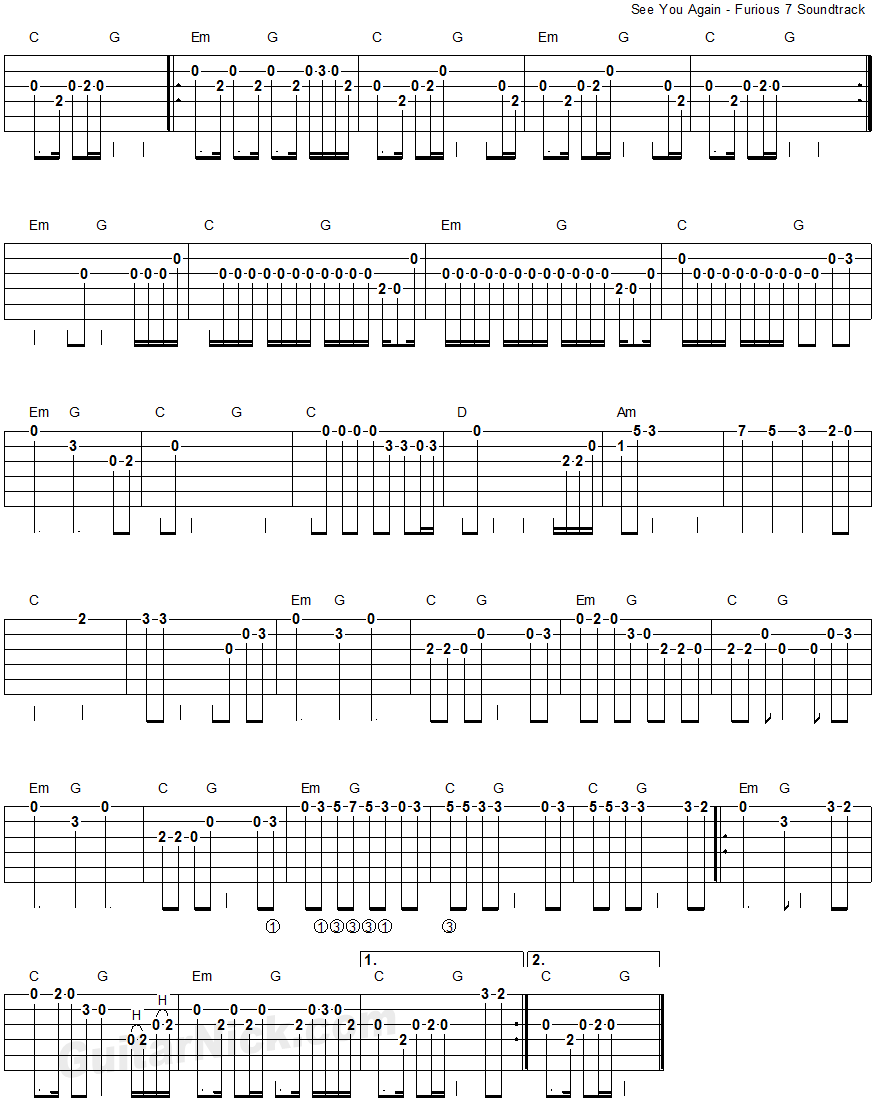 See You Again - Furious 7 - easy guitar tablature 2