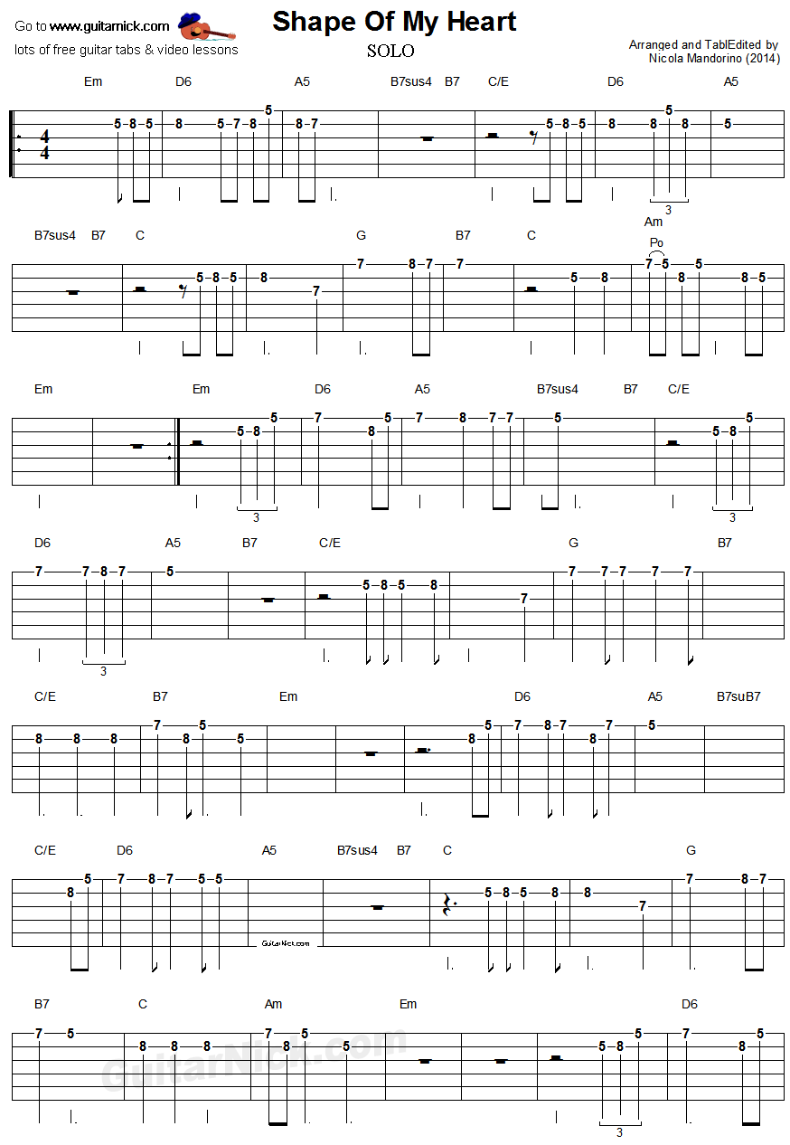 Shape Of My Heart - easy guitar tablature