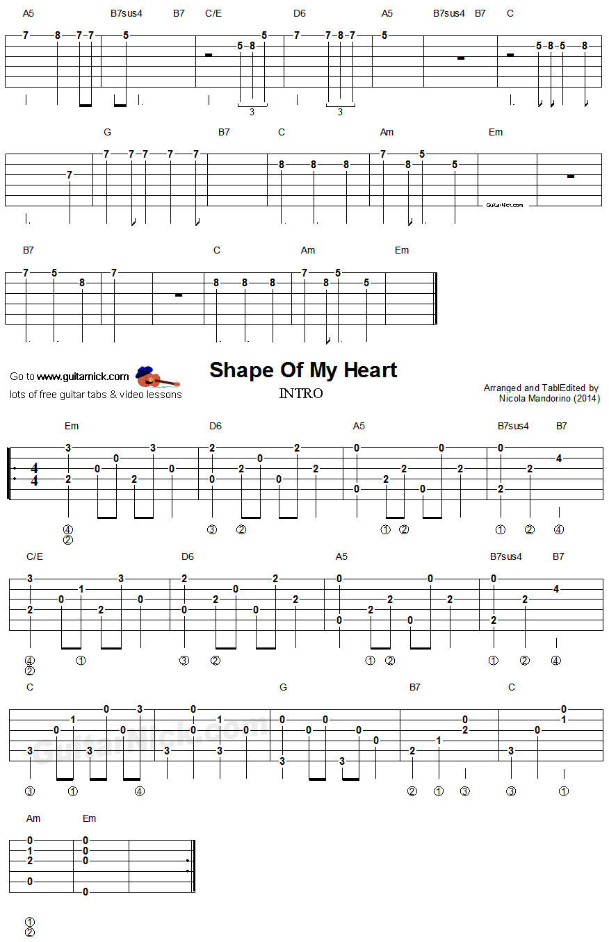 Shape Of My Heart - easy guitar intro