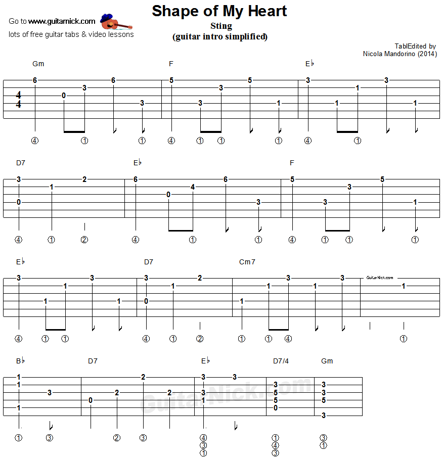 Shape Of My Heart - guitar arpeggio tablature