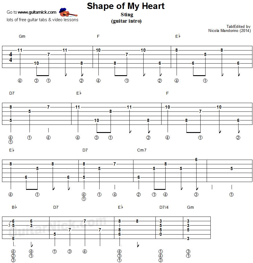 SHAPE OF MY HEART Guitar Arpeggio: GuitarNick com