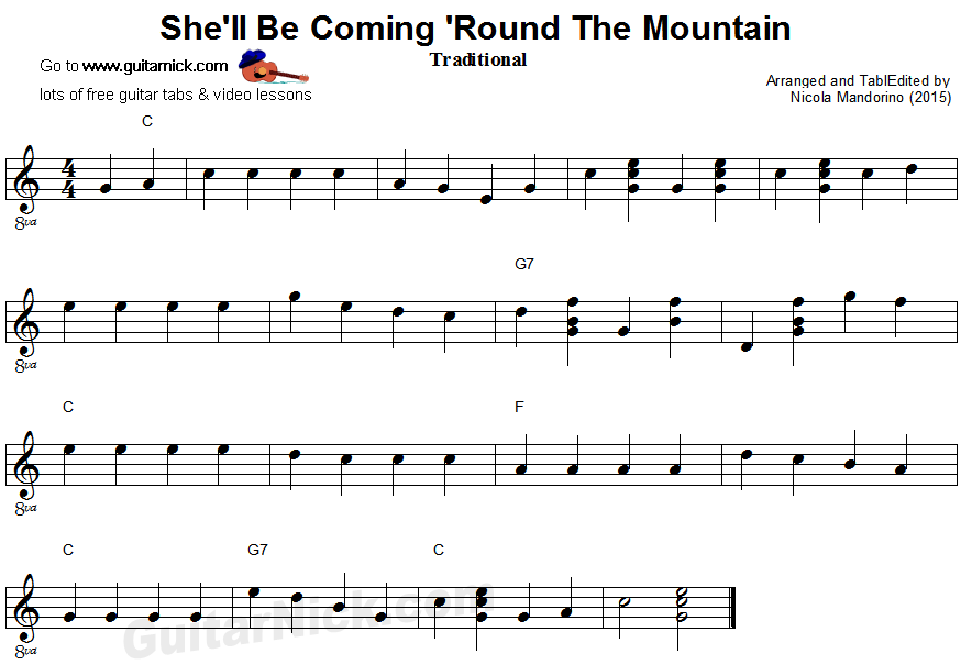 She'll Be Coming 'Round The Mountain - easy guitar sheet music