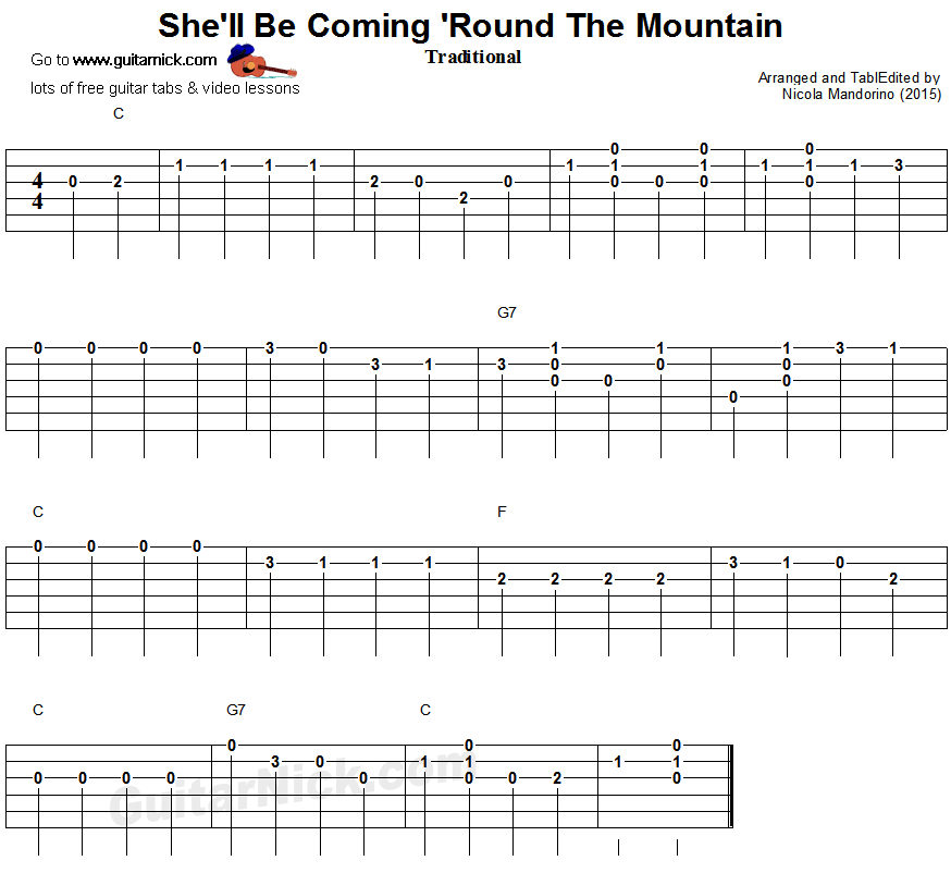 She'll Be Coming 'Round The Mountain - easy guitar tablature
