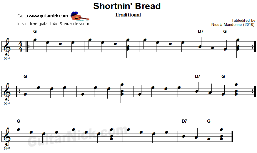 Shortnin Bread - easy guitar sheet music