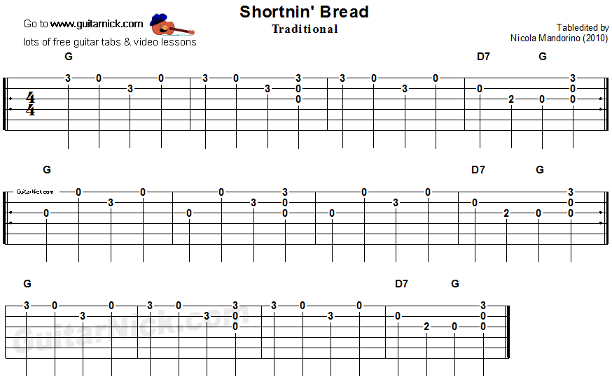 Shortnin Bread - easy guitar tablature