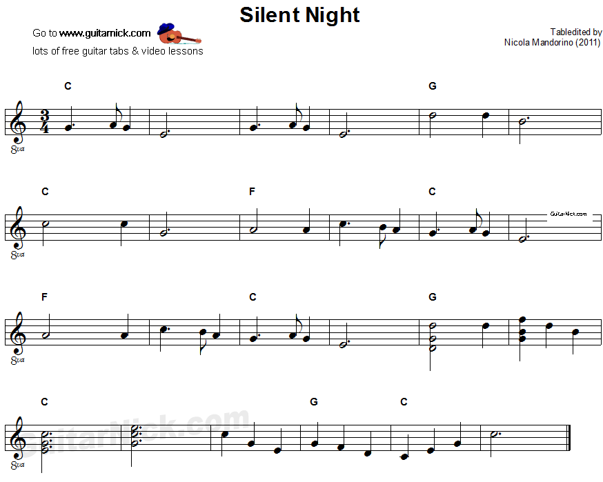 SILENT NIGHT Easy Guitar Tab: GuitarNick.com