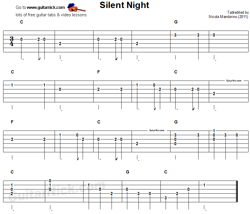 Silent Night - easy guitar tab