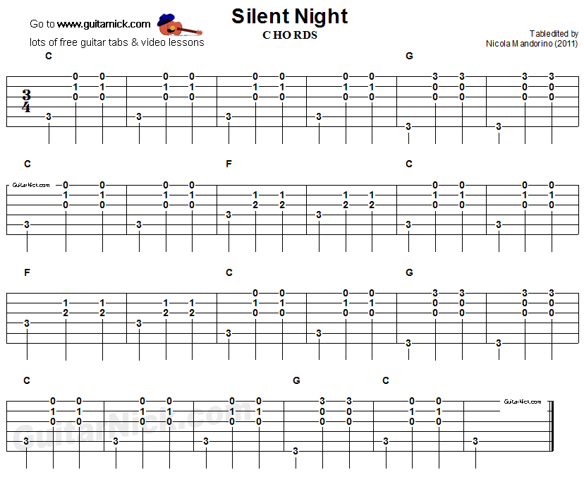 Silent Night - guitar chords tablature