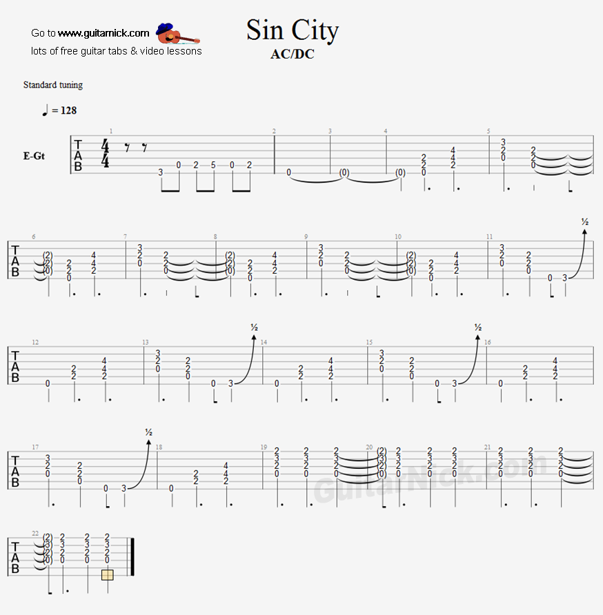 sin city acdc guitar tab. Black Bedroom Furniture Sets. Home Design Ideas