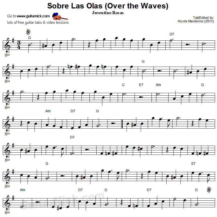 Sobre Las Olas - easy guitar sheet music