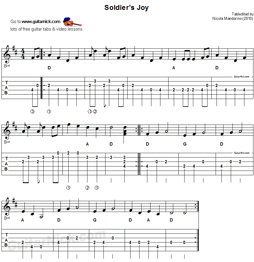 Soldieru0026#39;s Joy: sheet music + guitar TAB - GuitarNick.com