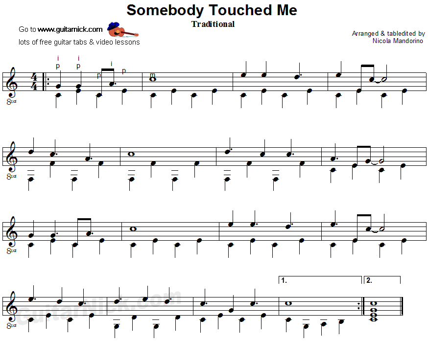 Somebody Touched Me - fingerpicking guitar sheet music