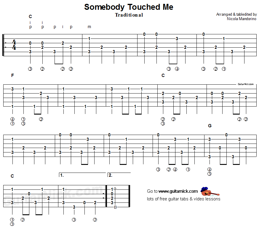 Somebody Touched Me - fingerpicking guitar tablature