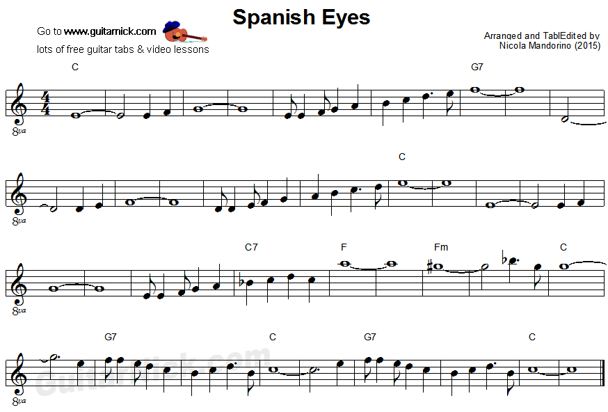 Spanish Eyes: easy guitar sheet music