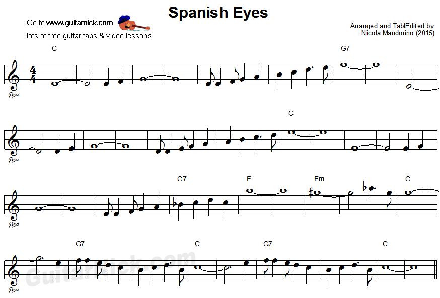 SPANISH EYES Easy Guitar Lesson: GuitarNick.com
