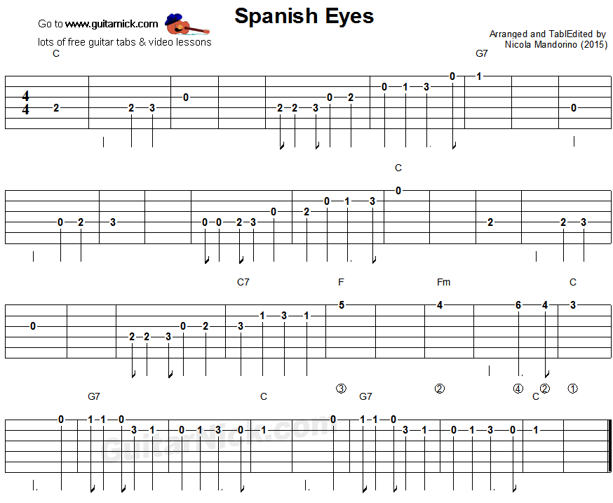 SPANISH EYES: Easy Guitar Tablature