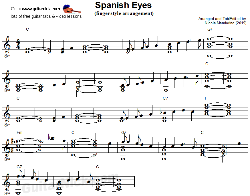 Spanish Eyes: fingerstyle guitar sheet music