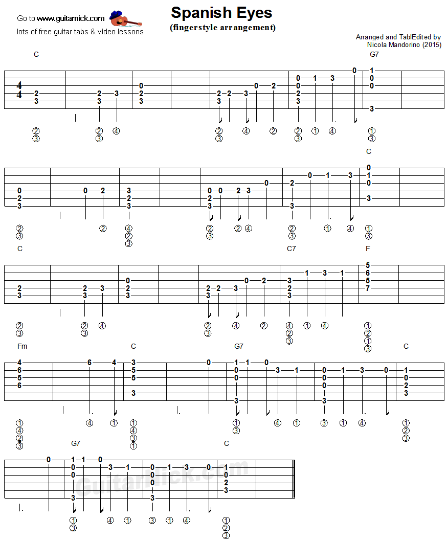 Spanish Eyes: fingerstyle guitar tablature