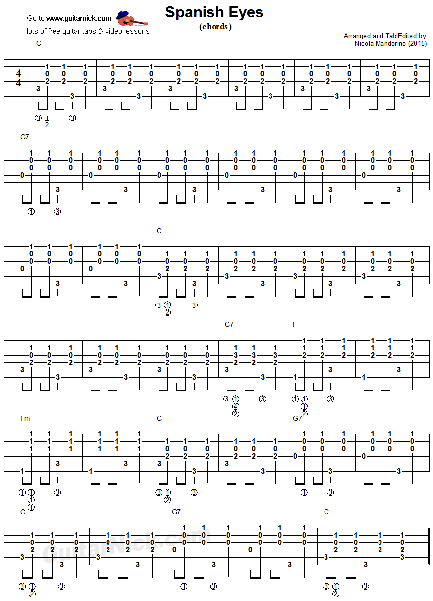 SPANISH EYES: Guitar Chords