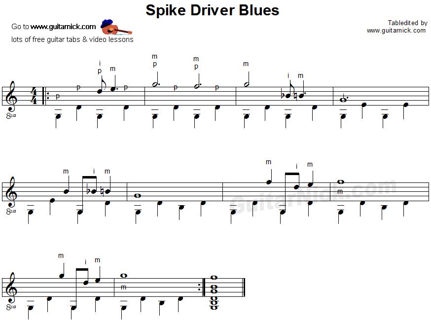 spike driver blues fingerpicking guitar lesson. Black Bedroom Furniture Sets. Home Design Ideas