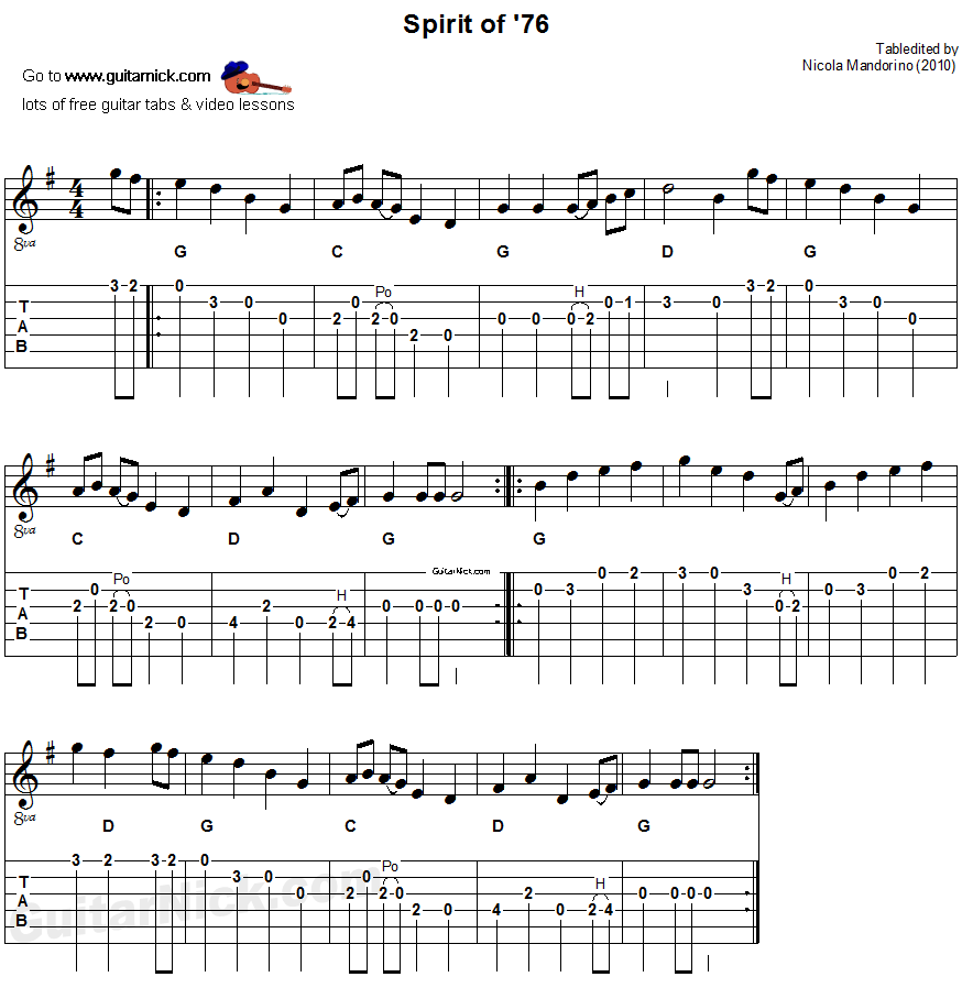 Spirit of '76 - acoustic flatpicking guitar tab, chords, sheet music