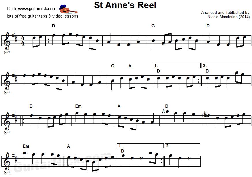 St Anne's Reel guitar TAB - GuitarNick.com