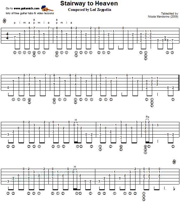 STAIRWAY TO HEAVEN: Fingerstyle Guitar Tab - GuitarNick com