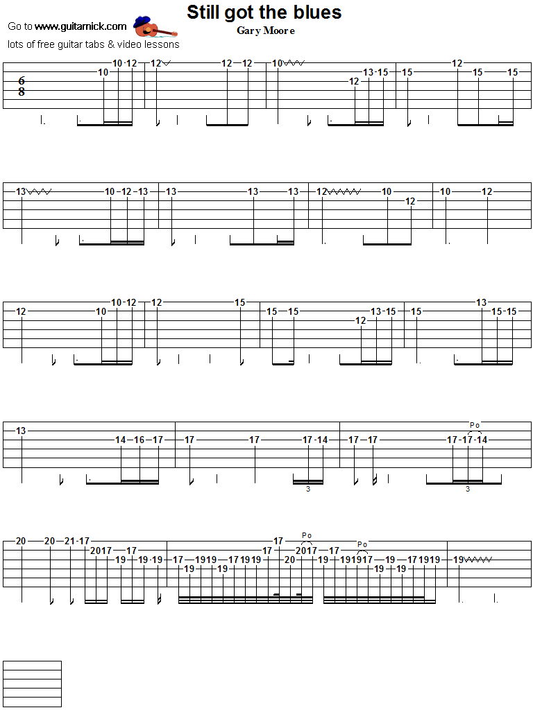 Still Got The Blues - guitar solo tab