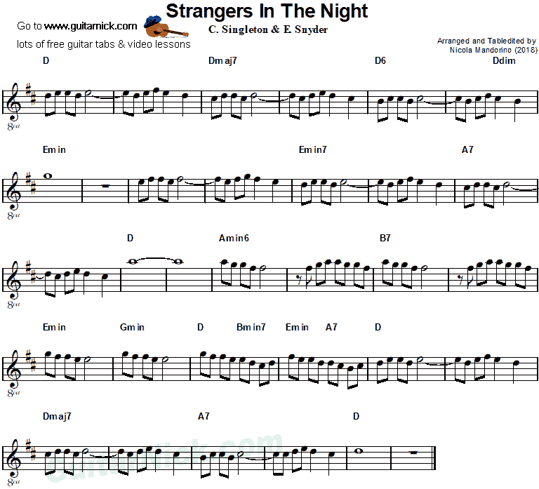 Frank Sinatra, Strangers in the Night - easy guitar sheet music